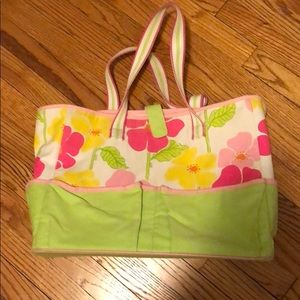 {lilly pulitzer} Floral canvas large tote